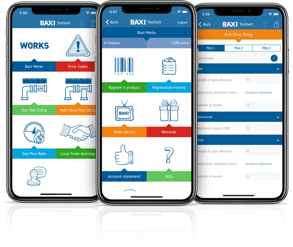 Access your Baxi Works account via the Baxi Toolbelt App